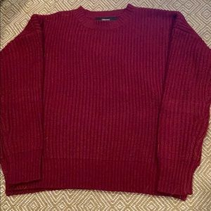 Red, woven, sweater